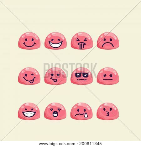 Vector set of jelly head with emotion signs. Drops with drawn faces