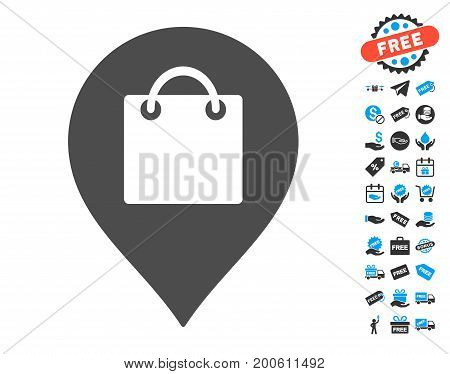 Shopping Bag Marker grey pictograph with free bonus pictograph collection. Vector illustration style is flat iconic symbols.