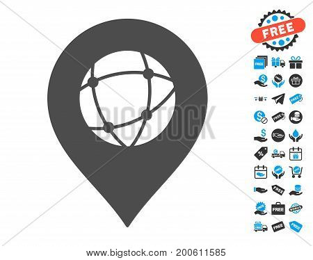 Sphere Marker gray icon with free bonus pictograms. Vector illustration style is flat iconic symbols.