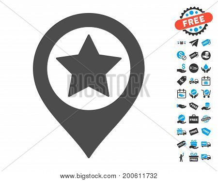 Star Map Marker gray pictograph with free bonus graphic icons. Vector illustration style is flat iconic symbols.