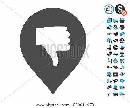 Thumb Down Marker gray icon with free bonus pictograms. Vector illustration style is flat iconic symbols.