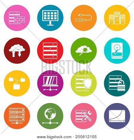 Database icons many colors set isolated on white for digital marketing