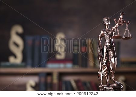 Law and justice concept. Symbol of law - Themis.