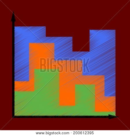 flat shading style icon 3d chart information