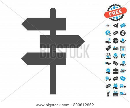 Way Pointer gray icon with free bonus images. Vector illustration style is flat iconic symbols.