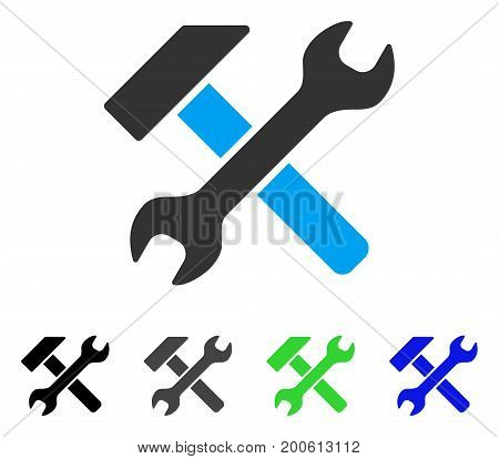 Hammer And Wrench flat vector illustration. Colored hammer and wrench, gray, black, blue, green pictogram versions. Flat icon style for web design.