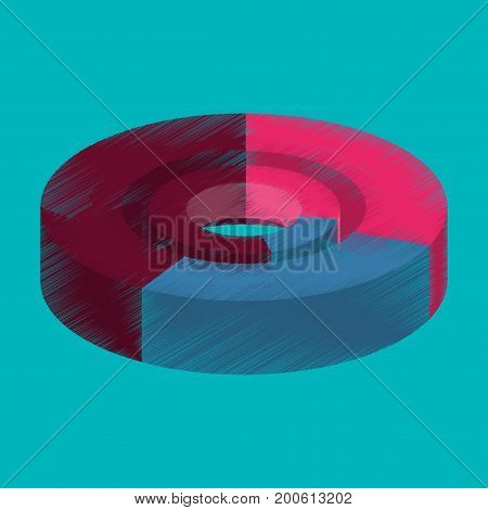 flat shading style icon Pie chart visualization