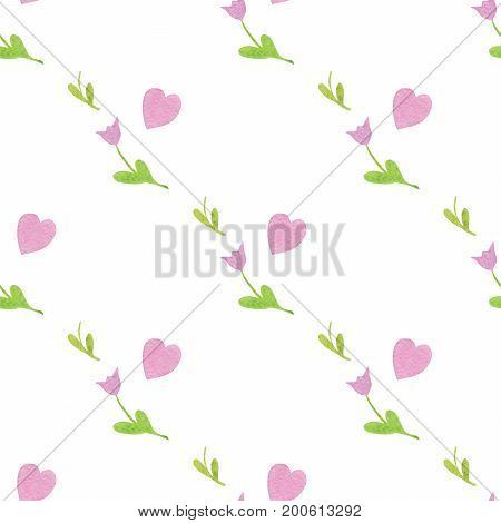 Seamless pattern with pink heart, green leaf and cute tulip flower. For design, packing, invitation and more