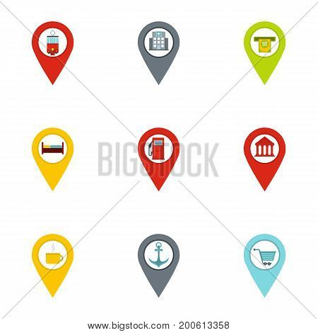 Route pins icon set. Flat set of 9 route pins vector icons for web isolated on white background