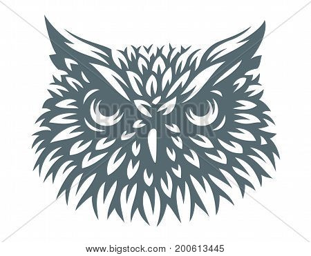 Owl head - vector illustration. Icon design on white background