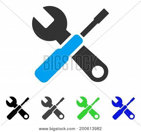 Tuning Tools flat vector illustration. Colored tuning tools, gray, black, blue, green icon versions. Flat icon style for application design.