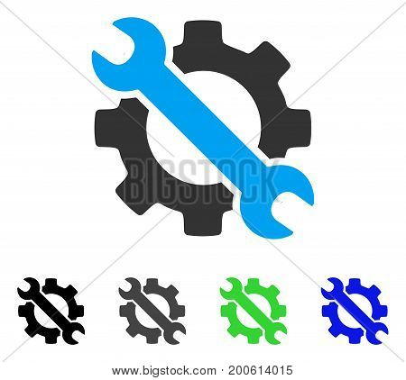 Wrench And Gear Setup Tools flat vector illustration. Colored wrench and gear setup tools, gray, black, blue, green pictogram versions. Flat icon style for web design.