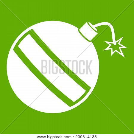 Bomb icon white isolated on green background. Vector illustration