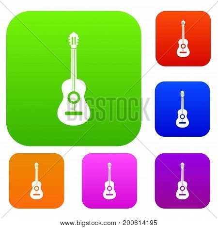 Classical guitar set icon in different colors isolated vector illustration. Premium collection