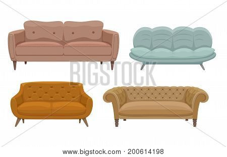 Sofa and couches colorful cartoon illustration vector set. Collection of comfortable lounge for interior design isolated on white background. Different models of settee icons.