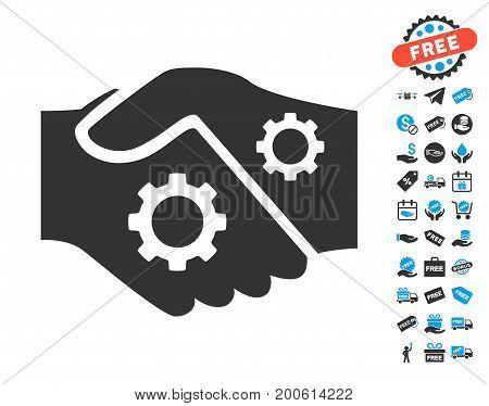 Smart Contract Handshake gray pictograph with free bonus design elements. Vector illustration style is flat iconic symbols.