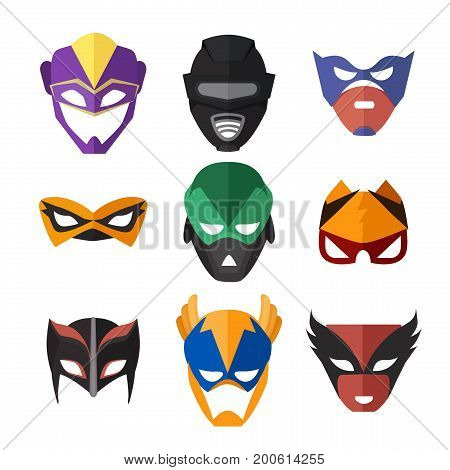 Vector illustrations of superheroes masks. Set of mask for superhero character