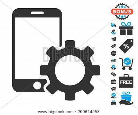 Smartphone Configuration Gear gray pictograph with free bonus pictograph collection. Vector illustration style is flat iconic symbols.