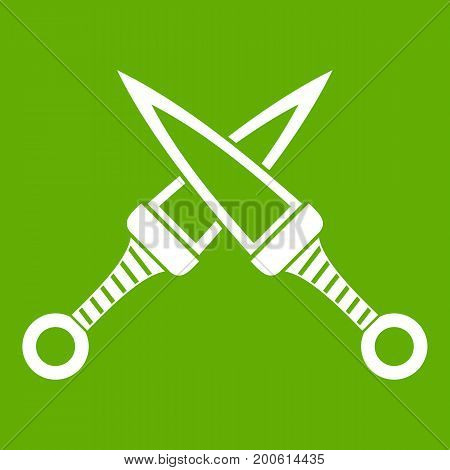 Crossed japanese daggers icon white isolated on green background. Vector illustration
