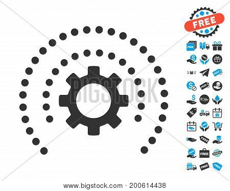 Sphere Shield Options Gear grey icon with free bonus clip art. Vector illustration style is flat iconic symbols.