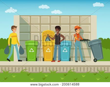 People put garbage in plastic packages of different types. Vector container trash for plastic and glass illustration