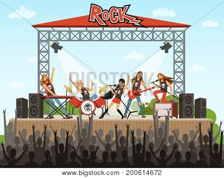 Rock band on stage. People on concert. Music performance. Vector illustration in cartoon style. Music stage rock concert, performance musician