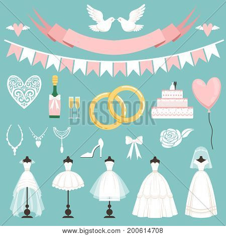 Wedding symbols in cartoon style. Cake, flowers, rings and other elements. Wedding love and holiday celebration elements. Vector illustration