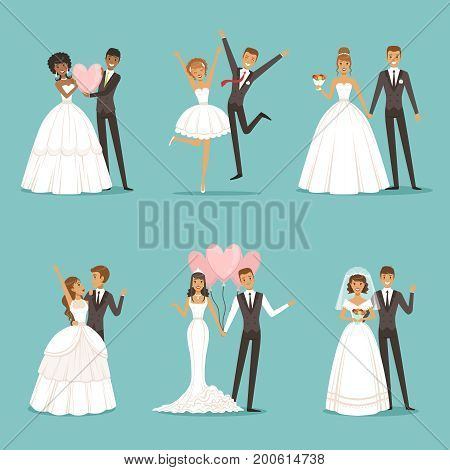 Married couple characters set. Wedding mascot design in cartoon style. Brides in beautiful clothes. Wedding cartoon couple man and woman illustration