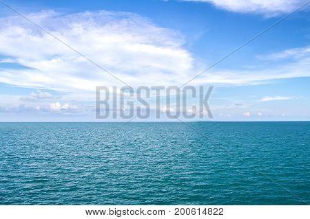 Sea Surface Calm Of Horizon Sea Ocean And Blue Sky Background