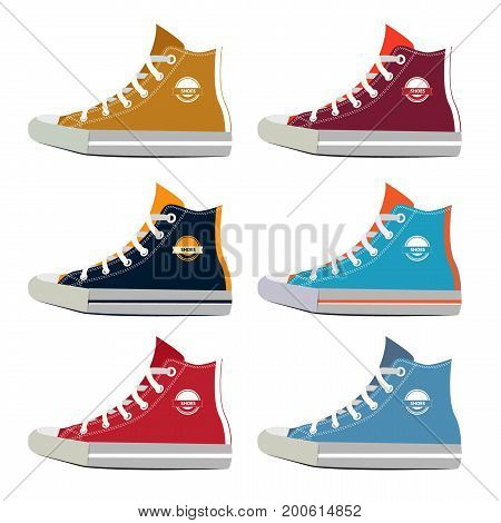 Different colors of teenage sport sneakers. Vector pictures set in cartoon style. Fashion footwear for walking and training, rubber sneakers illustration