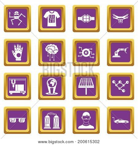 New technologies icons set in purple color isolated vector illustration for web and any design