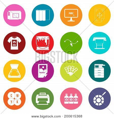 Printing icons many colors set isolated on white for digital marketing