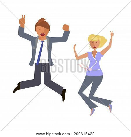 Business man and woman characters are Jumping for joy. Emotion portraits on white background. Vector illustration eps 10