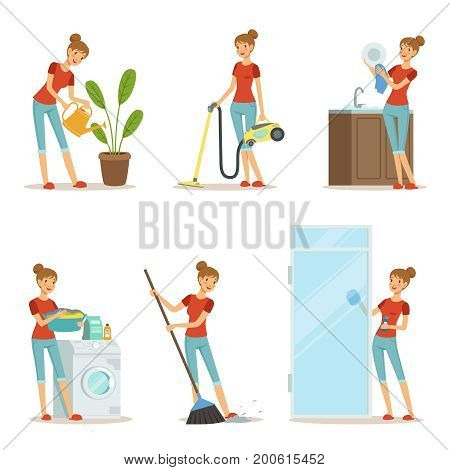 Woman making different housework. Active mother at homework. Vector illustration in cartoon style. Housewife mother and housework cartoon