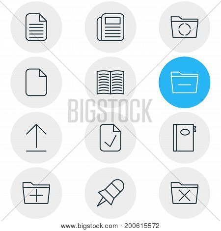 Editable Pack Of Add, Journal, Install And Other Elements.  Vector Illustration Of 12 Office Icons.