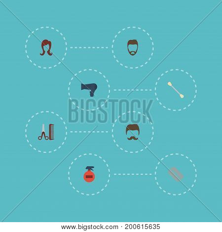 Flat Icons Razor, Blow-Dryer, Hairdresser And Other Vector Elements