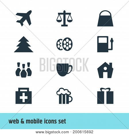 Editable Pack Of Beer Mug, Film, Home And Other Elements.  Vector Illustration Of 12 Travel Icons.
