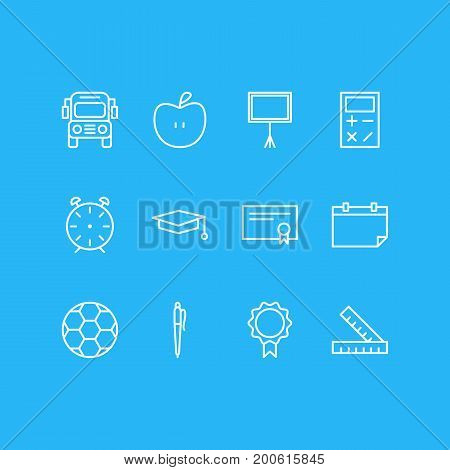 Editable Pack Of Write Table, Pencil, Trophy And Other Elements.  Vector Illustration Of 12 Education Icons.