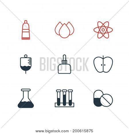 Editable Pack Of Medicament Pitcher, Trickle, Fresh Fruit And Other Elements.  Vector Illustration Of 9 Medicine Icons.