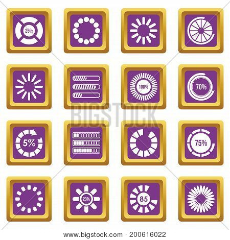 Loading bars and preloaders icons set in purple color isolated vector illustration for web and any design