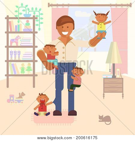 Vector Illustration with dad or babysitter and children. Baby son and daughter.