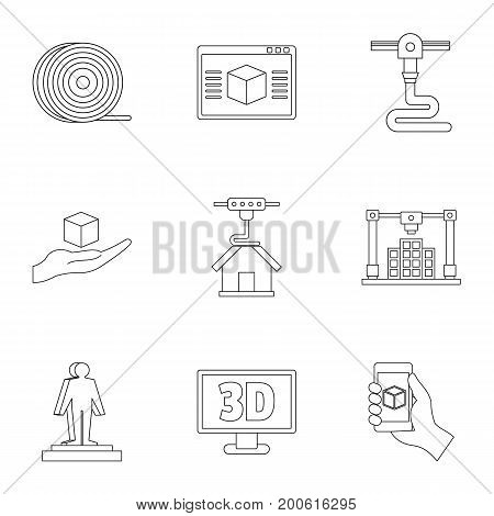 Futuristic 3d printer icon set. Outline set of 9 futuristic 3d printer vector icons for web isolated on white background