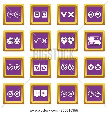 Check mark icons set in purple color isolated vector illustration for web and any design