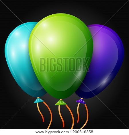 Realistic blue, green, purple balloons with ribbons isolated on black background. Vector illustration of shiny colorful glossy balloons