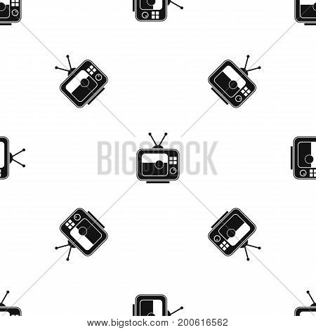Soccer match on TV pattern repeat seamless in black color for any design. Vector geometric illustration