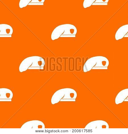 Military beret pattern repeat seamless in orange color for any design. Vector geometric illustration
