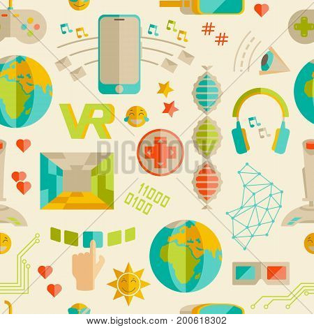Doodle vector seamless pattern with virtual reality and innovative technologies. Flat objects: smartphone, internet, gamepad, joystick, vr-device, 3d-glasses, emoji, likes. Elegant style