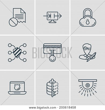 Editable Pack Of Send Information, Data Security, Safety Key And Other Elements.  Vector Illustration Of 9 Privacy Icons.