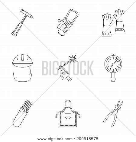 Welder instrument icon set. Outline set of 9 welder instrument vector icons for web isolated on white background