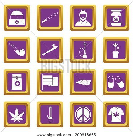Rastafarian icons set in purple color isolated vector illustration for web and any design